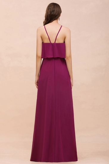 Stylish Spaghetti Straps Mulberry Chiffon Bridesmaid Dress with Ruffles_3