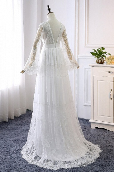 BMbridal Chic Empire Lace Tulle Wedding Dress Long Sleeves V-Neck Appliques Bridal Gowns On Sale_3