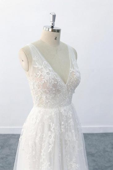 BMbridal Elegant V-neck Appliques Tulle A-line Wedding Dress On Sale_7