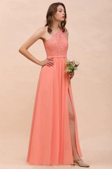 Gorgeous One Shoulder Slit Coral Chiffon Bridesmaid Dresses with Lace_5