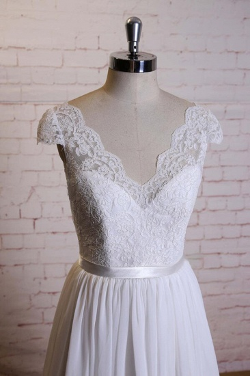 BMbridal Cap Sleeve A-line Lace Chiffon Wedding Dress On Sale_5