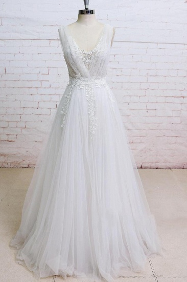 BMbridal Appliques Tulle Ruffle A-line Wedding Dress On Sale