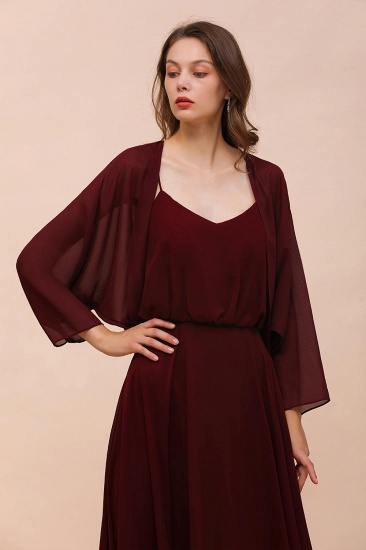 Burgundy Chiffon Special Occasions Wrap_1
