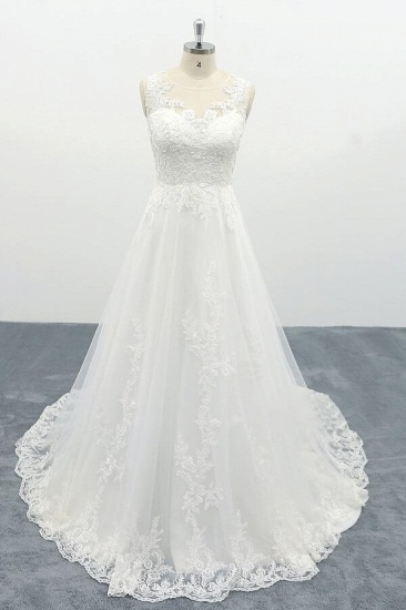BMbridal Elegant Appliques Tulle A-line Wedding Dress On Sale