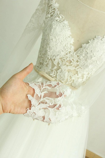 BMbridal Chic Jewel Longsleeves Tulle Wedding Dress Appliques Lace A-line Bridal Gowns On Sale_5