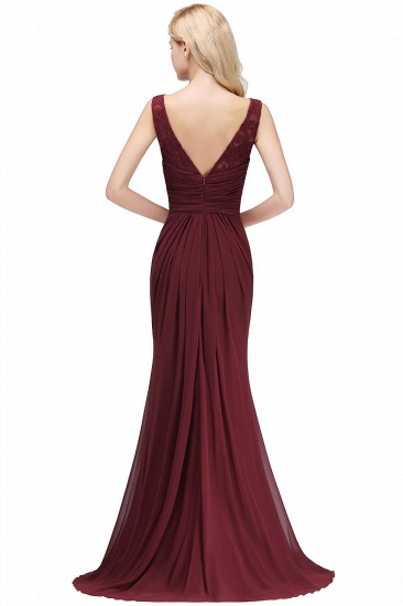 BMbridal Mermaid Burgundy Chiffon Ruffles Evening Dress_3
