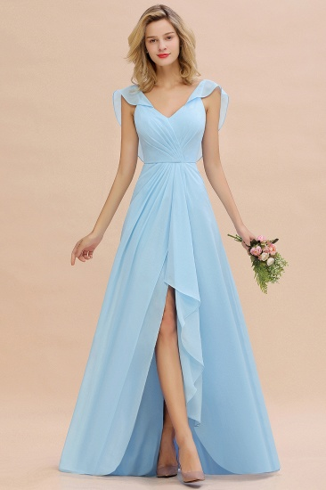 Modest Hi-Lo V-Neck Ruffle Long Bridesmaid Dress with Slit_23