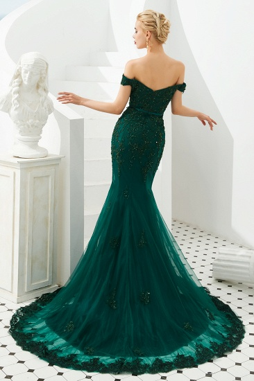 BMbridal Off-the-Shoulder Green Prom Dress Long Mermaid Evening Gowns With Lace Appliques_3