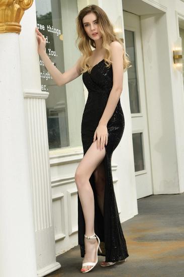 Sparkly Black Sequins Spaghetti Straps V-Neck Affordable Prom Dress_10