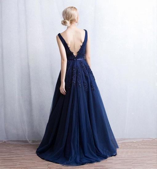 BMbridal V-Neck Sleeveless Lace Appliques Bridesmaid Dress_13