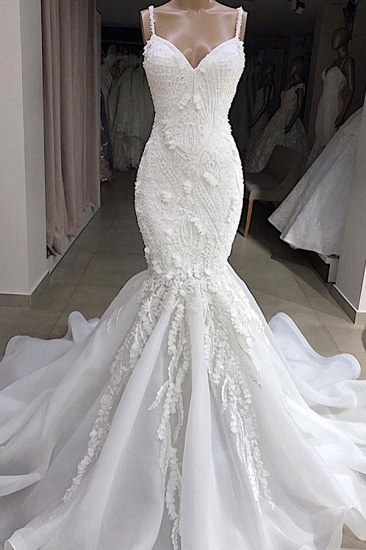 BMbridal Sexy Mermaid Spaghetti Straps Ivory Wedding Dresses With Appliques Tulle Lace Bridal Gowns On Sale_1