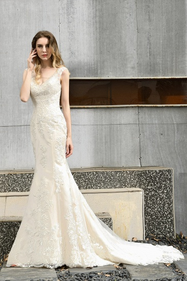 Glamorous Mermaid Satin Lace Open Back Wedding Dress_9