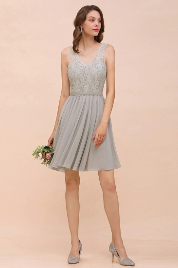 Affordable Lace V-Neck Silver Chiffon Short Bridesmaid Dress Online_4