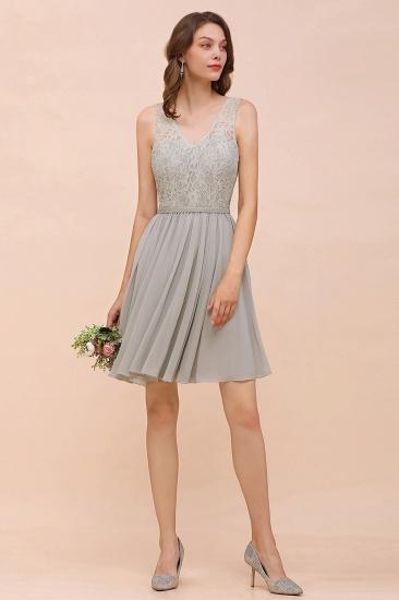 BMbridal Affordable Lace V-Neck Silver Chiffon Short Bridesmaid Dress Online_4