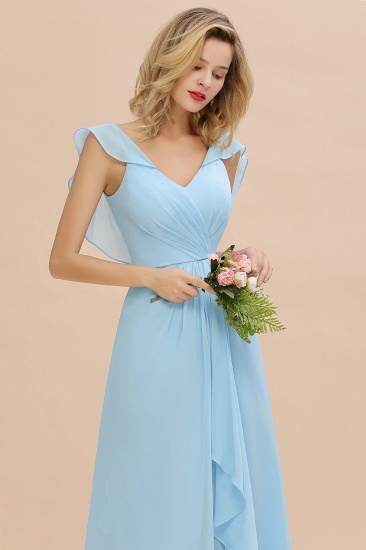 Modest Hi-Lo V-Neck Ruffle Long Bridesmaid Dress with Slit_57