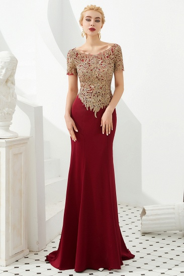 Burgundy Short Sleeves Mermaid Prom Dress Long With Gold Appliques