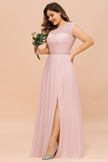 Chic One-Shoulder Pink Lace Bridesmaid Dresses with Slit_8