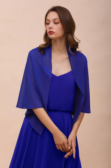 Royal Blue Chiffon Special Occasions Wraps_4