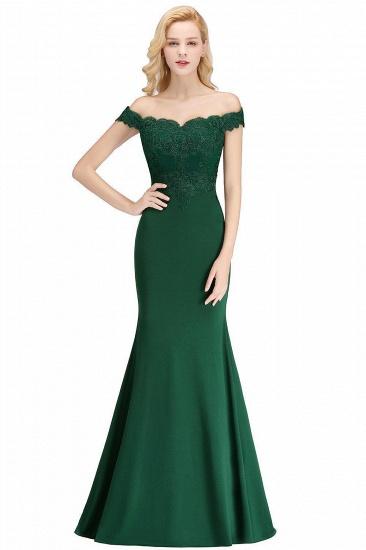 BMbridal Mermaid Off-the-shoulder Long Appliques Satin Bridesmaid Dress_7