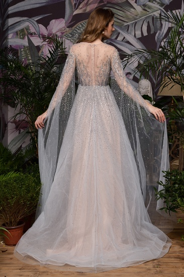 Luxurious Tulle Crystals Long Prom Dress Online With Ruffle Sleeves_6