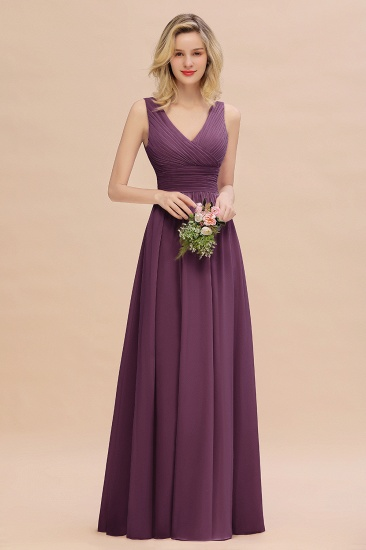 Elegant V-Neck Dusty Rose Chiffon Bridesmaid Dress with Ruffle_20