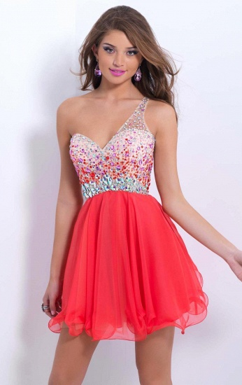 BMbridal A-line One Shoulder Chiffon Party Dress With Crystal_5