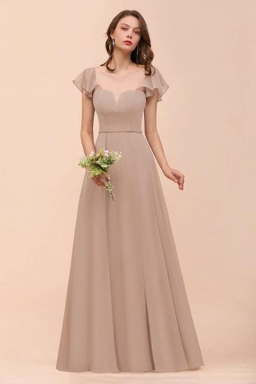Elegant Chiffon Slit Affordable Bridesmaid Dresses with  Short Sleeves_8