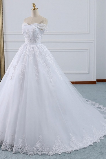 Unique Off the Shoulder Appliques Lace Wedding Dress Ball Gown White A-line Bridal Gowns On Sale_3