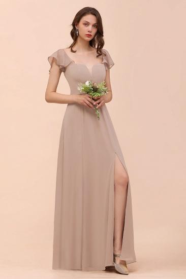 Elegant Chiffon Slit Affordable Bridesmaid Dresses with  Short Sleeves_3