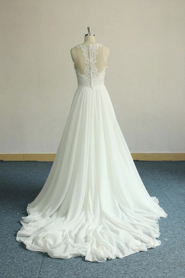 Unique White Jewel Sleeveless Wedding Dress Appliques Chiffon Bridal Gowns On Sale_3