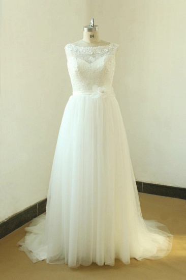 Gorgeous A-line White Lace Tulle Wedding Dress Sleeveless Appliques Bridal Gowns On Sale_1