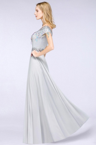 BMbridal A-line Jewel Short Sleeves Sequins Evening Dress with Tassels_4