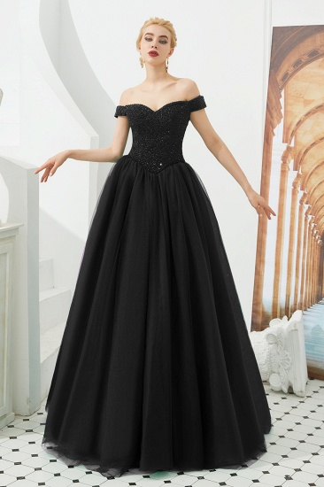BMbridal Princess Off-the-Shoulder Prom Dress Beadings Sweetheart Ball Gown Evening Gowns_2