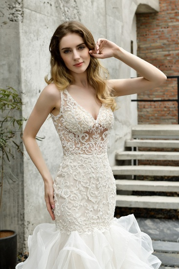 Elegant Mermaid Tulle Lace White Wedding Dresses with Appliques_4