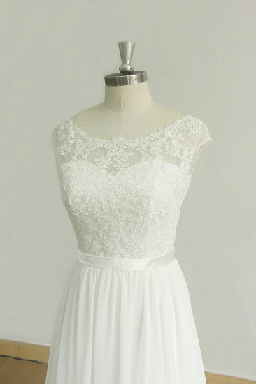 BMbridal Stylish White Chiffon Lace Wedding Dresses Jewel Sleeveless Bridal Gowns On Sale_4