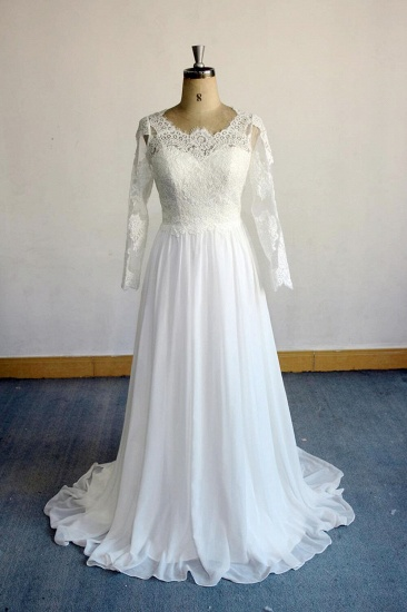Elegant Longsleeves Appliques Lace Wedding Dress White Chiffon A-line Bridal Gowns On Sale_1