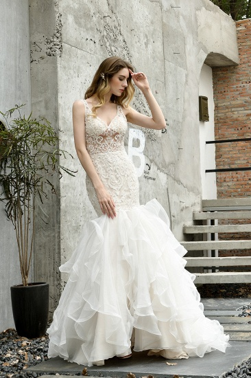 Elegant Mermaid Tulle Lace White Wedding Dresses with Appliques_8