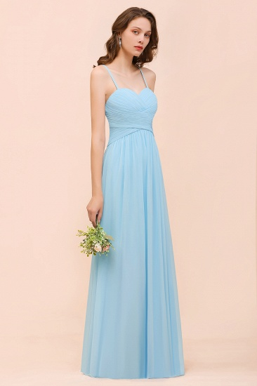 Chic Spaghetti Straps Ruffle Sky Blue Chiffon Bridesmaid Dress Online_8