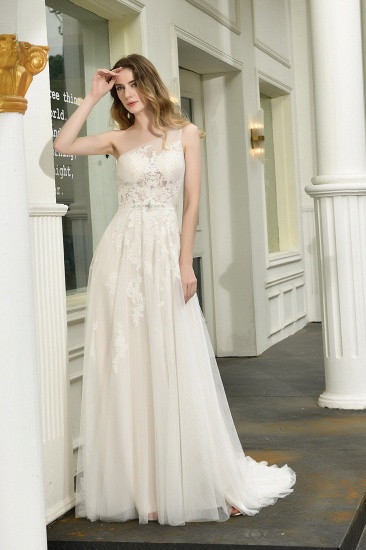 Sexy A-Line One Shoulder Tulle Lace Ivory Wedding Dress Online_1