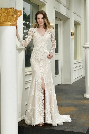 Exquisite Sheath V-Neck Long Sleeves Wedding Dress With Slit_1