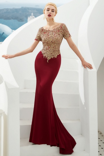 Burgundy Short Sleeves Mermaid Prom Dress Long With Gold Appliques_6