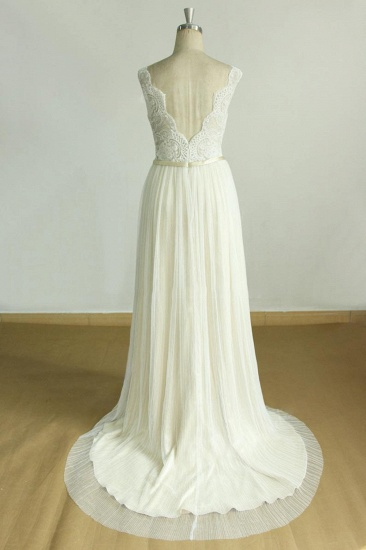 BMbridal Unique Appliques Straps V-neck Wedding Dress White Sleeveless Tulle Bridal Gowns On Sale_3