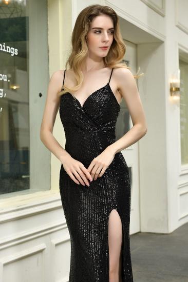 BMbridal Sparkly Black Sequins Spaghetti Straps V-Neck Affordable Prom Dress_12