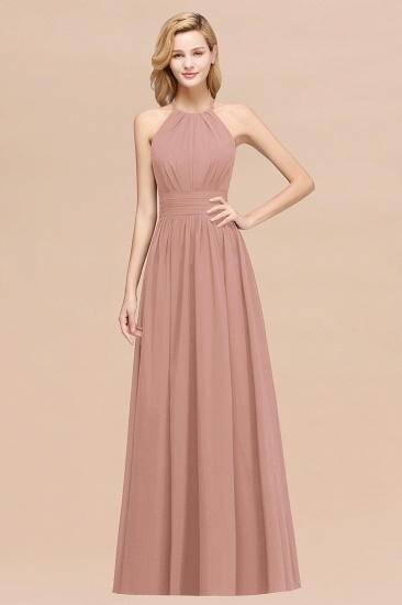 Elegant High-Neck Halter Long Affordable Bridesmaid Dresses with Ruffles_6