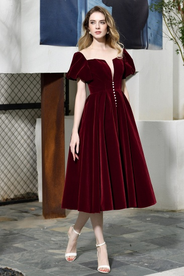 Vintage Bugrundy Short Sleeve Prom Dress Tea-Length Party Gowns With Lace-up_6