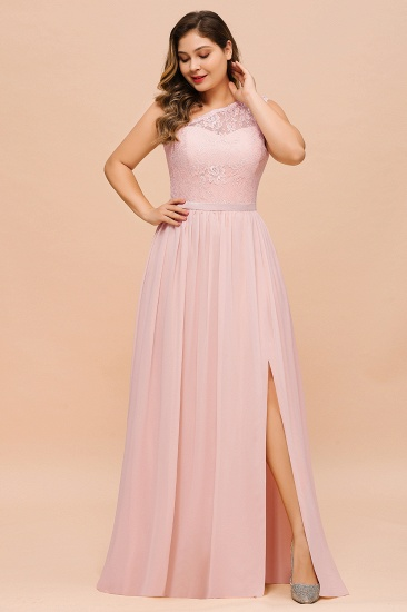Chic One-Shoulder Pink Lace Bridesmaid Dresses with Slit_5