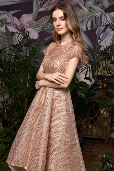 Glamorous Rose Gold Sequins Prom Dress Short Sleeve Evening Gowns Online_10
