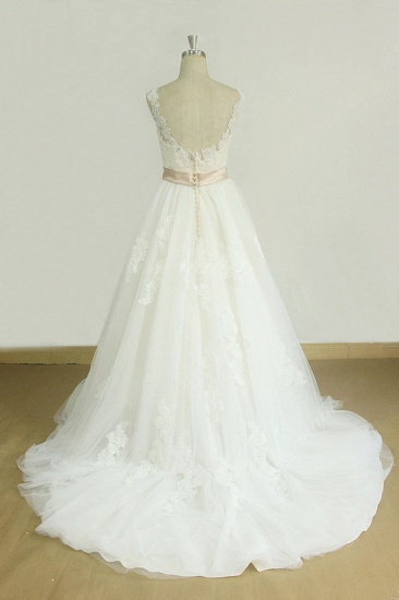 BMbridal Chic Jewel Lace Appliques Wedding Dress Sleeveless Tulle A-line Bridal Gowns On Sale_3