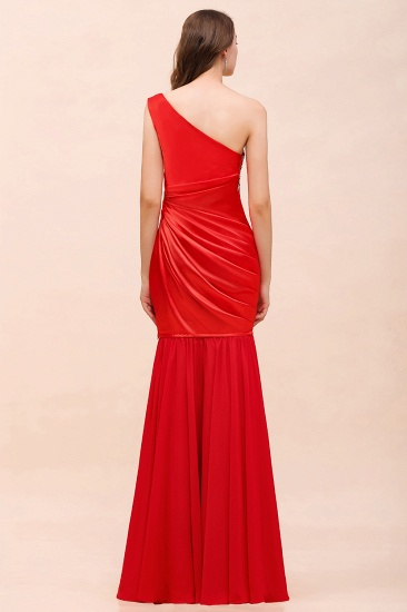 BMbridal Chic One Shoulder Beading Ruffle Red Bridesmaid Dress with Detachable Skirt_5