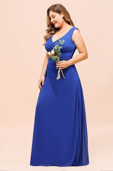 Elegant V-Neck Sleeveless Chiffon Plus Size Bridesmaid Dress_8